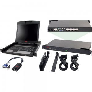"APC 2X1X16 IP KVM with APC 17"" Rack LCD and USB VM Server Module Bundle"