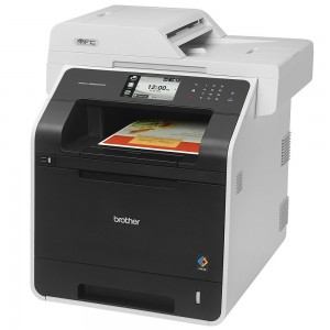 "Print Speed: Up to 30 ppm, Print Scan Copy Fax, 4.85"""" TFT Color LCD, 2400x600 dpi Resolution, Processor: 400MHz, Memory: 256MB expandable to 512MB, Automatic Double Sided Printing, Print/Scan up to Legal Size, Copy Size 25%-400%, Dual CIS Scanner, Super"