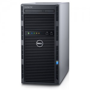PowerEdge T130 Server / Intel Xeon E3-1220 v5 3.0GHz, 8M cache, 4C/4T, turbo (80W) / 4 x 4GB UDIMM, 2133MT/s, ECC / 2 x 1TB 7.2K RPM SATA 6Gbps 3.5in Cabled Hard Drive / PERC H330 Integrated RAID Controller / DVD+/-RW / On-Board LOM 1GBE Dual Port (BCM572