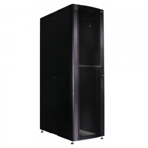 F Series II Rack 42U 600X 1290 C/W 75% perforated doors with lock and key;Split side panels; EIA mounting rails; levelling feet; color black; Curved front door, Castor is optional part exclude bottom plat