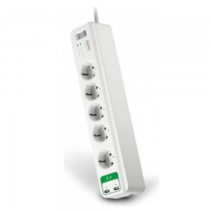 APC SurgeArrest 5 outlet 230V Germany with USB Charger 2 ports 5V/2.4A 230V, 1.8m, White