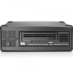 HPE STOREEVER LTO-5 ULTRIUM 3000 SAS EXTERNAL TAPE DRIVE, EH958B Ultrium 3000 LTO-5 half height LFF external SAS tape drive - 3TB compressed capacity, 1TB/hr compressed transfer rates, Linear Tape File System (LTFS), and AES 256-bit hardware encryption (O