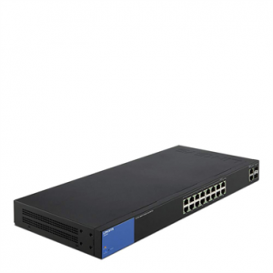 Linksys 18-Port Smart GigabitSwitch. Proven Performance and Reliability; Easy configuration and management; Network security; IPv6 support; 2 combo on ports g17, g18 Key selling point:Dynamic vlan,dhcp snooping,802.1x RADIUS,L3