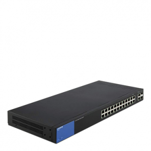 Linksys 26-Port Smart GigabitSwitch. Proven Performance and Reliability; Easy configuration and management; Network security; IPv6 support; 2 combo on ports g25, g26 Key selling point:Dynamic vlan,dhcp snooping,802.1x RADIUS,L3