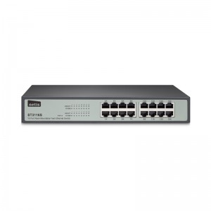 Netis Switch 16 Port Fast Ethernet Switch, 10/100 mbps 13 inch Metal
