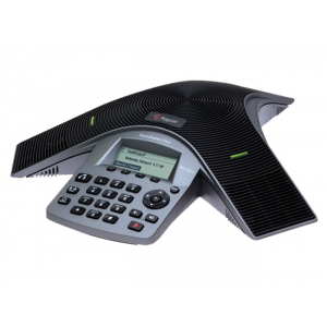 Polycom SoundStation Duo dual-mode conference phone including Power Supply, Power Cord with United Kingdom plug, Power Injection Module (PIM) with 6.4m combined PSTN/Cat5 cable, 2.1m RJ-11 PSTN cable, 2.1m Cat5 cable and Quick Start Guide
