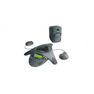Polycom SoundStation VTX 1000 (analog) conference phone. Includes 2 expansion mics, 1 subwoofer, 100-240V AC power/telco module with UK plug, 6.4m console cable, 2.8m telco cable.
