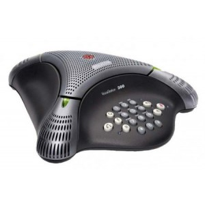 Polycom VoiceStation 300 (analog) conference phone for small rooms and offices. Non-expandable. Includes 220-240V AC power/telco module, power cord with UK plug, 2.8m telco cable, 6.4m console cable.