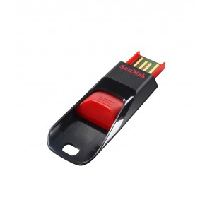 SanDisk Cruzer Edge USB Flash Drive, CZ51 8GB, USB2.0, Black with red slider, compact design, 5Y