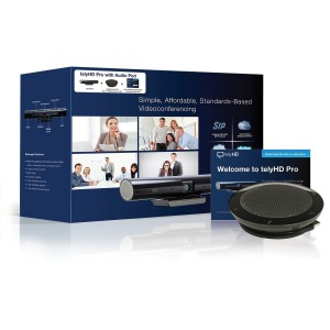 telyHD Pro w/Audio Pod, telyHD Pro + Audio Pod - Skype certified - 720p point-to-point video calling - SIP interoperability - Blue Jeans Network integration - telyCloud 1 year subscription - Tabletop USB speaker and mic. Includes 15' USB cable.